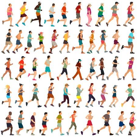 Duża kolekcja wektora biegaczy Ilustracje wektorowe