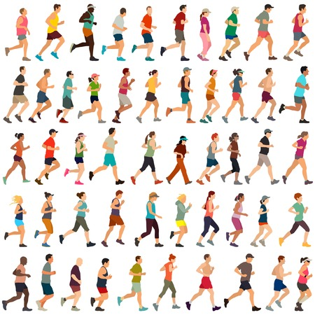 Large collection of vector runners 版權商用圖片 - 52359024