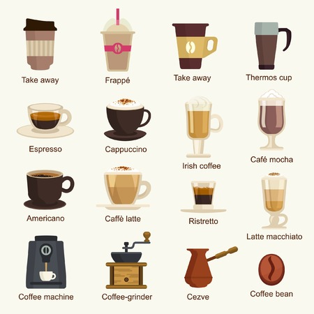 drinking coffee: Coffee types vector set