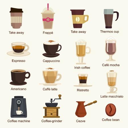 Coffee types vector set
