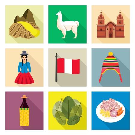 Peru pictogrammen Stock Illustratie