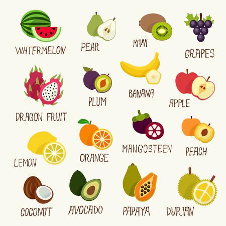 frutas tropicales: Frutas colecci�n  Vectores