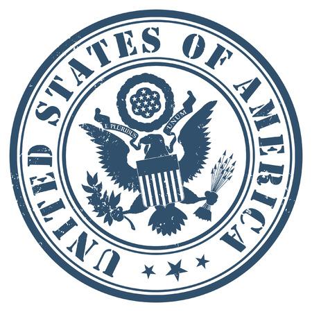 sellos: Americano del oro del sello del pasaporte en el fondo azul oscuro. Vectores