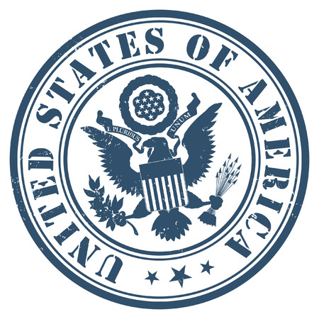 US passport seal gold on dark blue background.