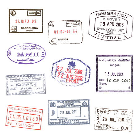 australia stamp: Passport stamps. Set 2 Illustration