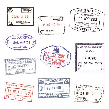 Passport stamps. Set 2 Illustration