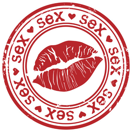immoral: Red stamp with sexy lipstick print inside