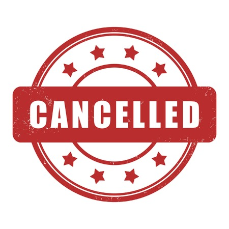 cancelled: Red stamp. Cancelled Illustration