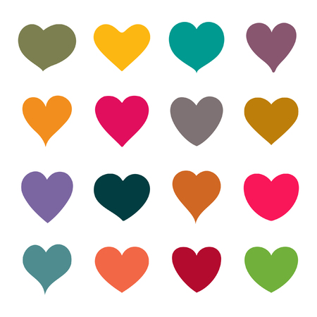 romantic love: Set of vector hearts