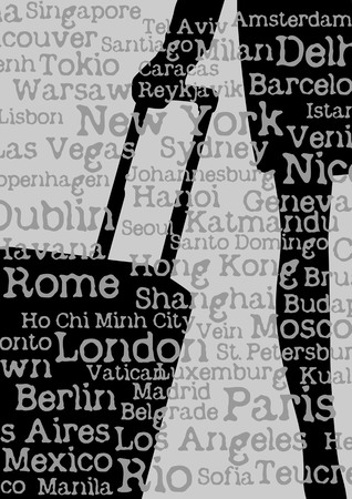 stewardess: Silhouette of woman with travel bag and cities names background