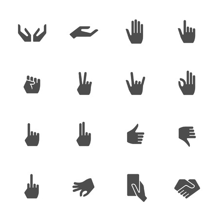 ok sign language: Hands gestures icon set