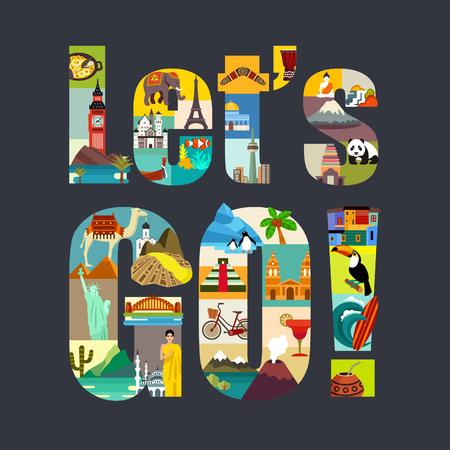 旅遊: 我們走吧。周遊世界主題的矢量插圖 向量圖像