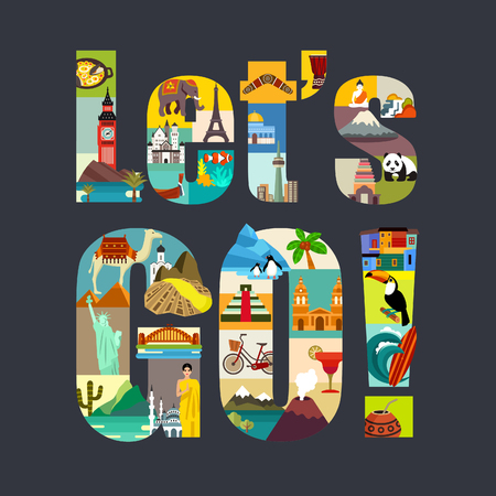 travel collage: Lets Go. Travel Around the World theme vector illustration