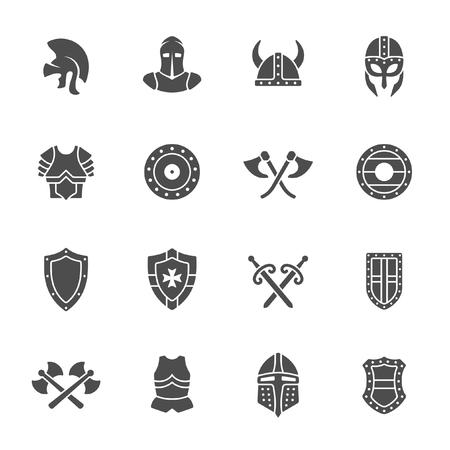 Conjunto de iconos de la armadura medieval