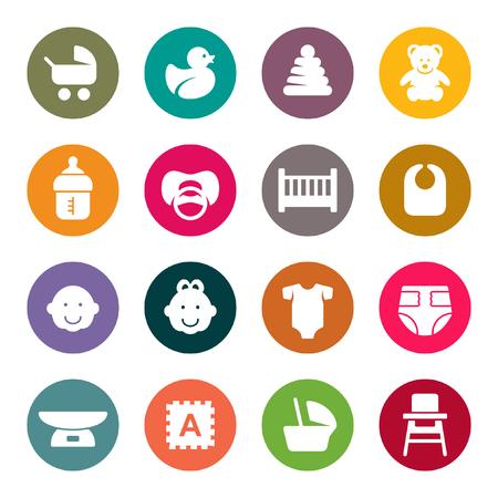 Baby goods icon set Illustration