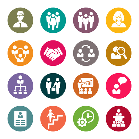 round icons: management icons Illustration