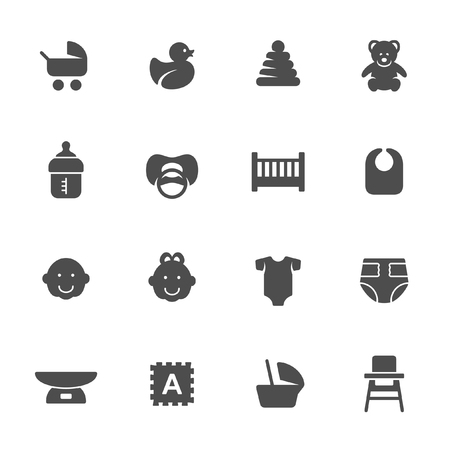 Iconos de artículos para bebés Foto de archivo - 53709242