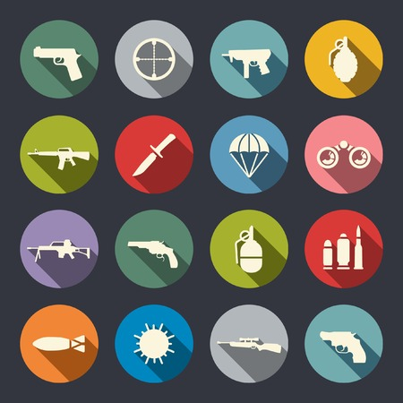 circle icon: Weapon icon set