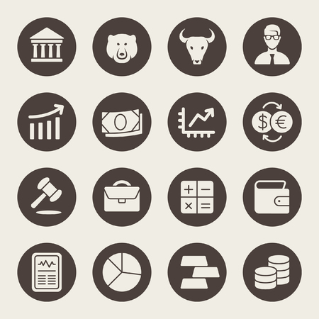 Stock exchange icon set