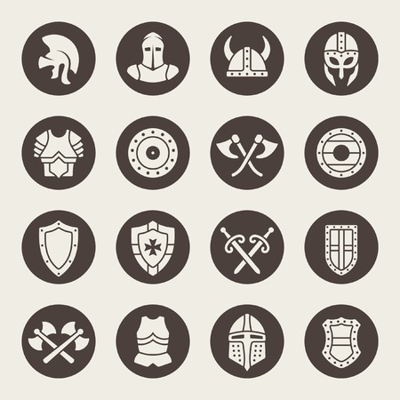 knight in armor: Medieval armor icon set