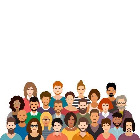 multitud gente: La gente se amontona ilustración vectorial