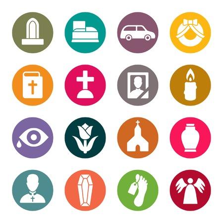 memorial cross: conjunto de iconos funeral Vectores