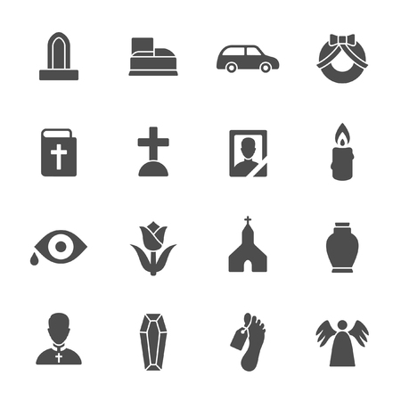 decorative urn: Funeral vector icons