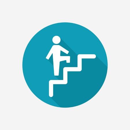 bajando escaleras: Persona en icono del vector de escaleras