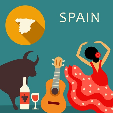 Spain travel illustration 矢量图像