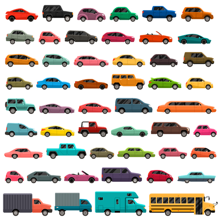 Different car types icons set Ilustração