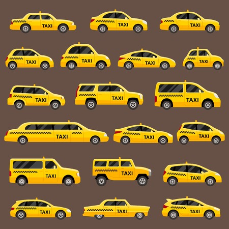 road traffic: Automotive set of isolated taxi cars Illustration
