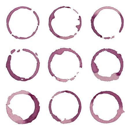 Wine stains hand drawn set Illustration