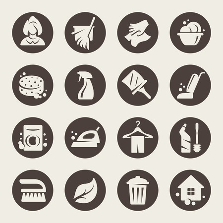 Schoonmaak icon set Vector Illustratie