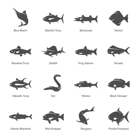 Poisson de mer icon set