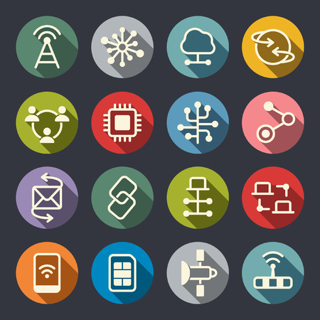 telecommunications technology: Connection technologies vector icons Illustration