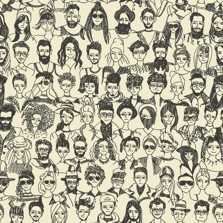 unrecognizable person: People crowd seamless pattern