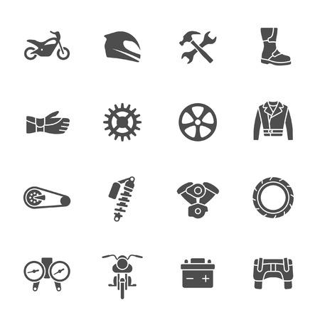 casco moto: Icono de la motocicleta conjunto Vectores