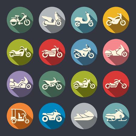 Icono de la motocicleta conjunto Ilustración de vector