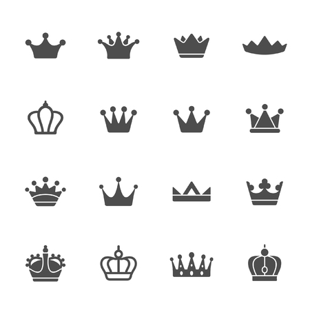 Crowns vector icon set Ilustrace