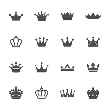 Crowns vector icon set Illustration