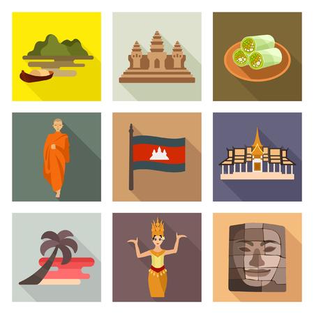 カンボジア旅行アイコン  イラスト・ベクター素材