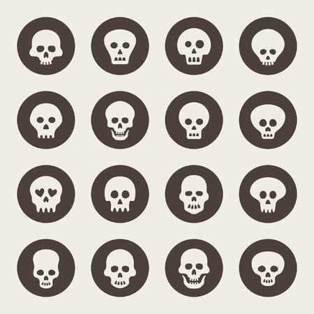 human head: Skull icon set