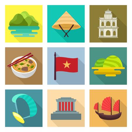 junk boat: Vietnam travel icons Illustration