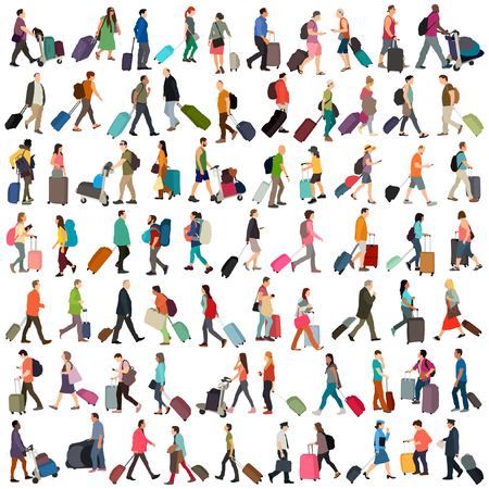 Travelling people vector set