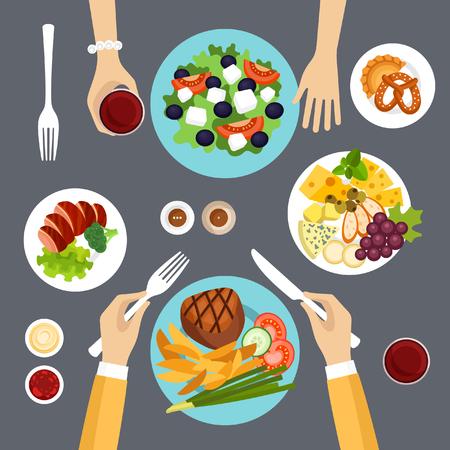 pareja comiendo: Dinner vector illustration