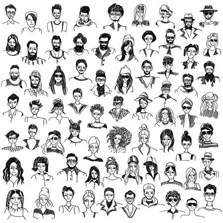 trendy male: People doodles vector set Illustration