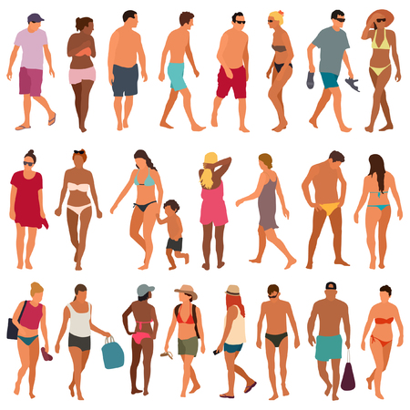 Beach people vector set
