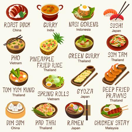 Asian foods vector set 일러스트