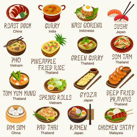 fried noodles: Asian foods vector set Illustration
