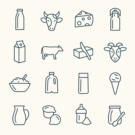 Dairy products line icons on plain background Çizim